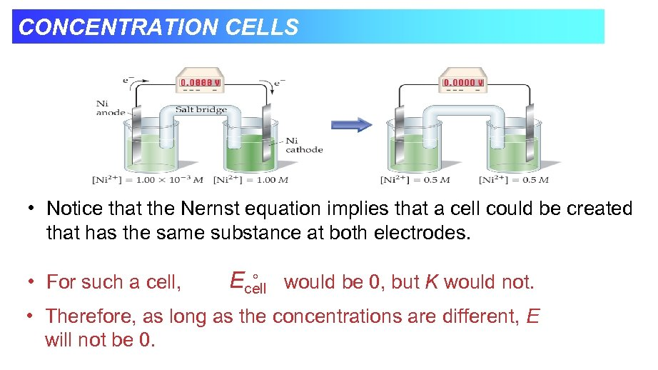 CONCENTRATION CELLS • Notice that the Nernst equation implies that a cell could be