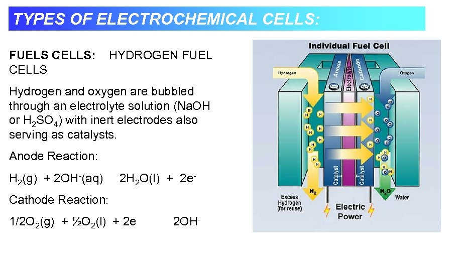 TYPES OF ELECTROCHEMICAL CELLS: FUELS CELLS: CELLS HYDROGEN FUEL Hydrogen and oxygen are bubbled