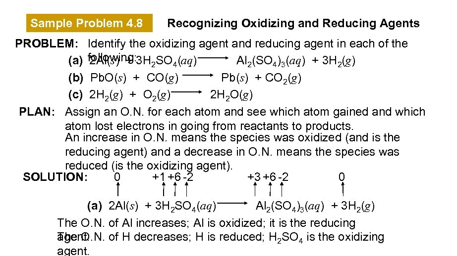 Sample Problem 4. 8 Recognizing Oxidizing and Reducing Agents PROBLEM: Identify the oxidizing agent