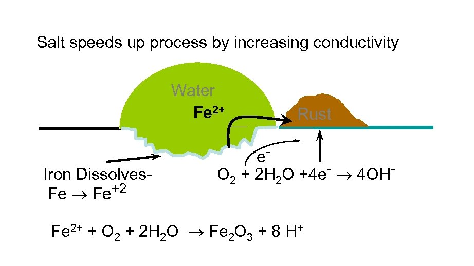 Salt speeds up process by increasing conductivity Water Fe 2+ Iron Dissolves. Fe Fe+2