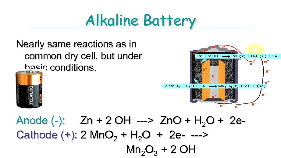 Alkaline Battery Nearly same reactions as in common dry cell, but under basic conditions.