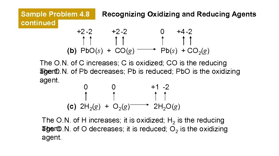 Sample Problem 4. 8 continued +2 -2 Recognizing Oxidizing and Reducing Agents +2 -2