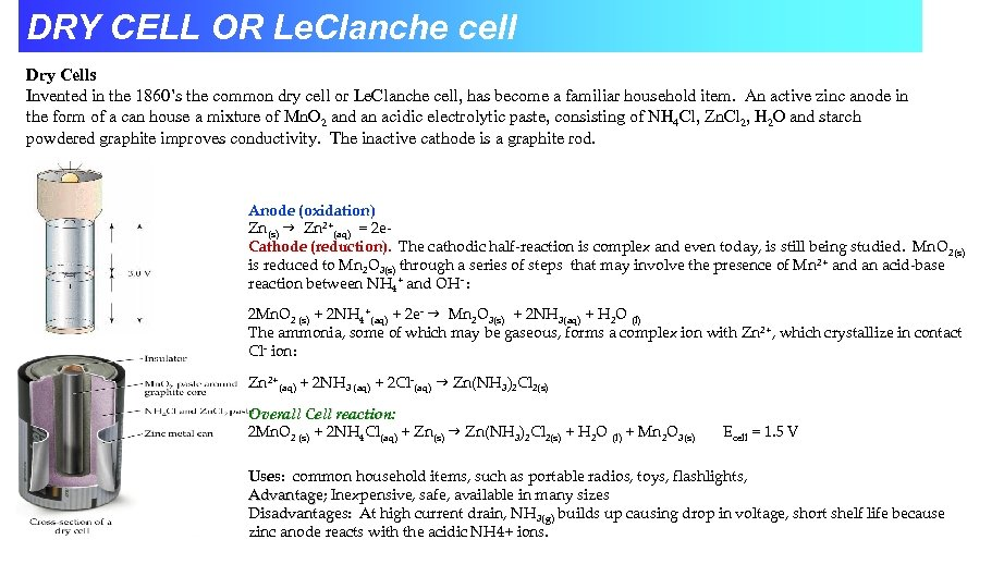 DRY CELL OR Le. Clanche cell Dry Cells Invented in the 1860's the common