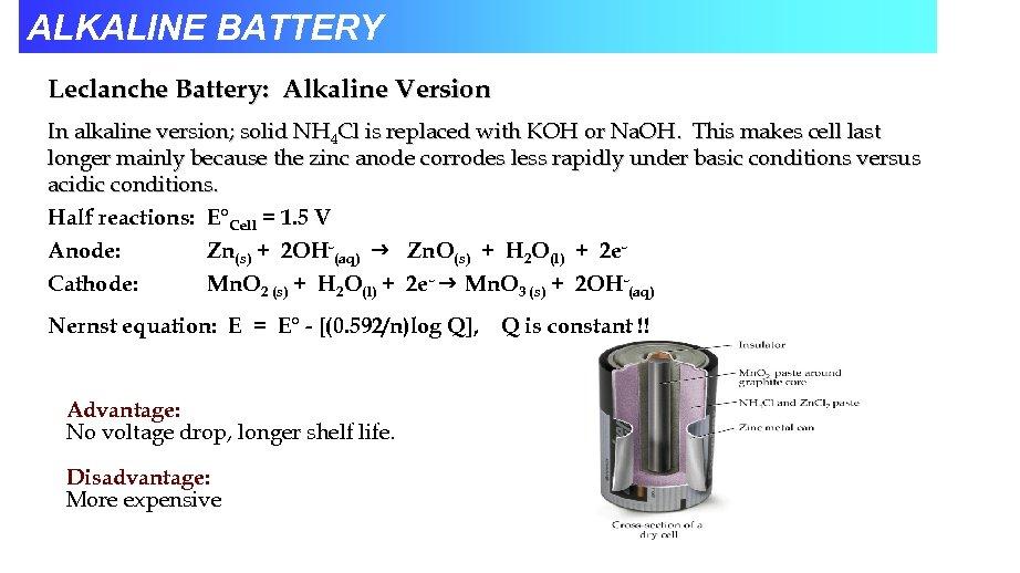 ALKALINE BATTERY Leclanche Battery: Alkaline Version In alkaline version; solid NH 4 Cl is