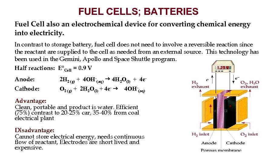 FUEL CELLS; BATTERIES Fuel Cell also an electrochemical device for converting chemical energy into
