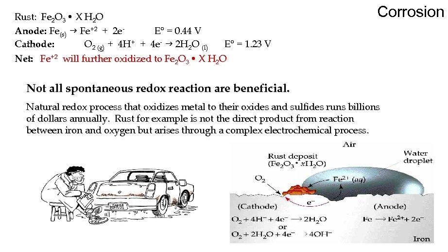 Rust: Fe 2 O 3 • X H 2 O Anode: Fe(s) g Fe+2