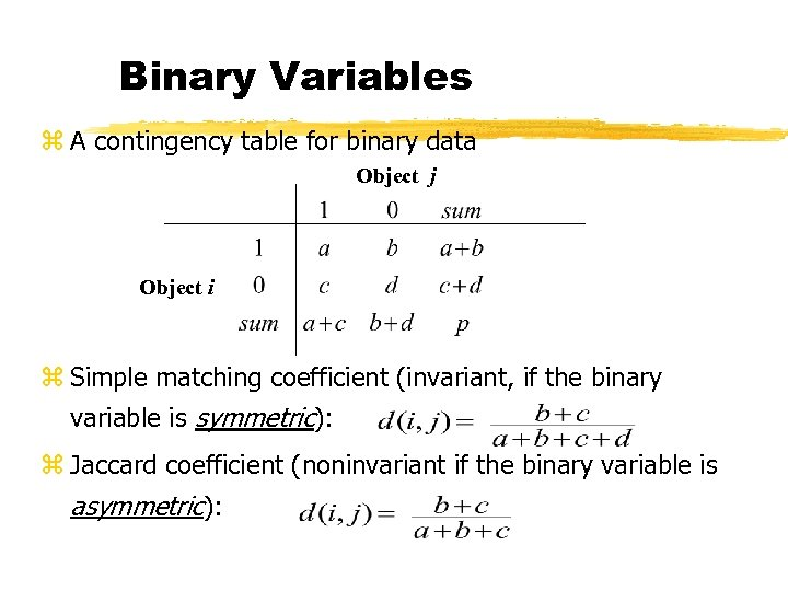 Binary Variables z A contingency table for binary data Object j Object i z