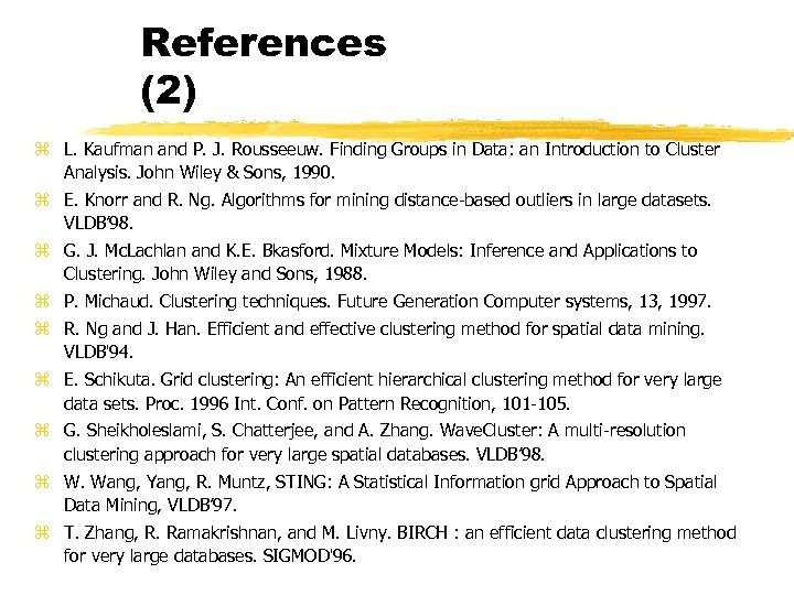References (2) z L. Kaufman and P. J. Rousseeuw. Finding Groups in Data: an