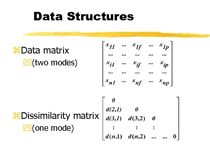Data Structures z. Data matrix y(two modes) z. Dissimilarity matrix y(one mode)