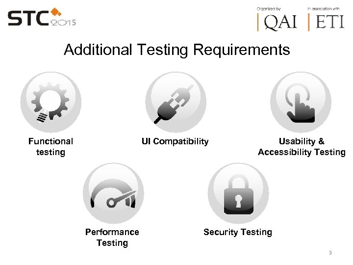 Additional Testing Requirements Functional testing UI Compatibility Performance Testing Usability & Accessibility Testing Security