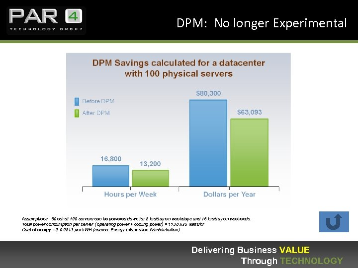 DPM: No longer Experimental Assumptions: 50 out of 100 servers can be powered down