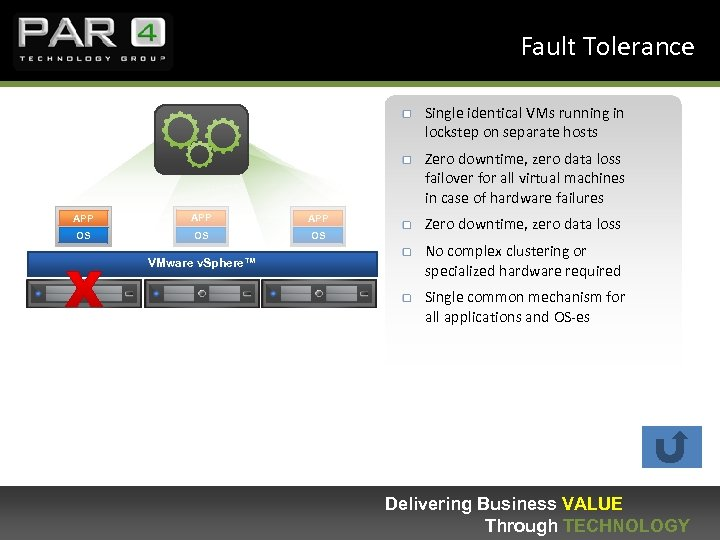 Fault Tolerance Single identical VMs running in lockstep on separate hosts Zero downtime, zero