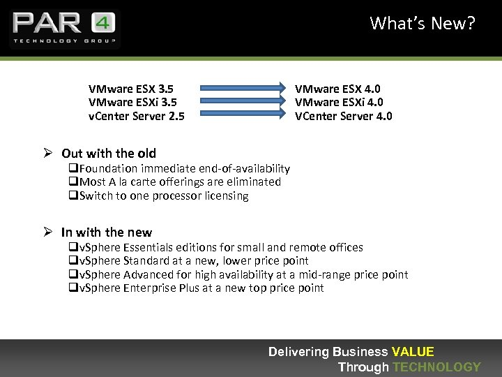 What's New? VMware ESX 3. 5 VMware ESXi 3. 5 v. Center Server 2.