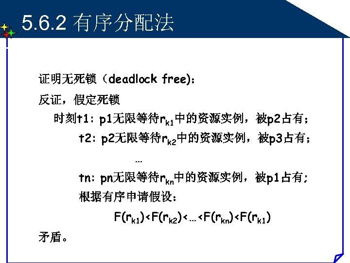 5. 6. 2 有序分配法 证明无死锁(deadlock free): 反证,假定死锁 时刻t 1: p 1无限等待rk 1中的资源实例,被p 2占有; t
