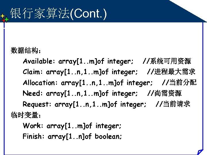 银行家算法(Cont. ) 数据结构: Available: array[1. . m]of integer; //系统可用资源 Claim: array[1. . n, 1.