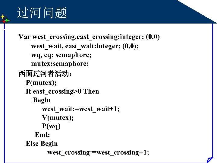 过河问题 Var west_crossing, east_crossing: integer; (0, 0) west_wait, east_wait: integer; (0, 0); wq, eq: