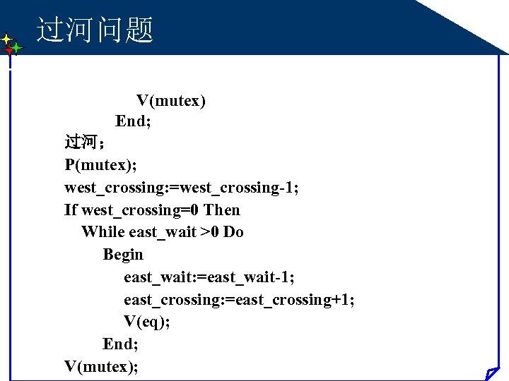 过河问题 V(mutex) End; 过河; P(mutex); west_crossing: =west_crossing-1; If west_crossing=0 Then While east_wait >0 Do