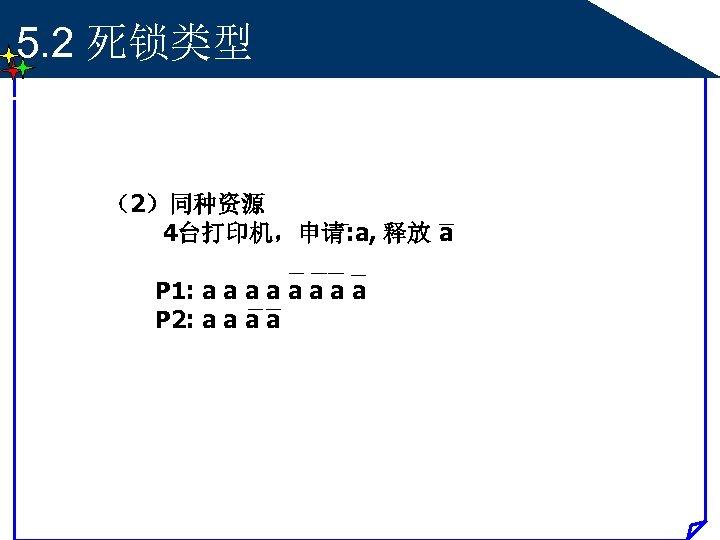 5. 2 死锁类型 (2)同种资源 4台打印机,申请: a, 释放 a P 1: a a a a