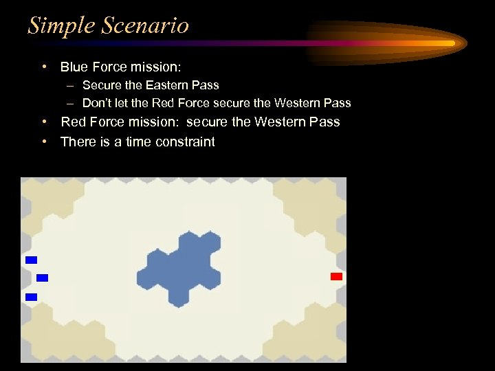 Simple Scenario • Blue Force mission: – Secure the Eastern Pass – Don't let