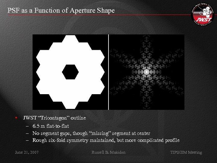 """PSF as a Function of Aperture Shape • JWST """"Tricontagon"""" outline – 6. 5"""