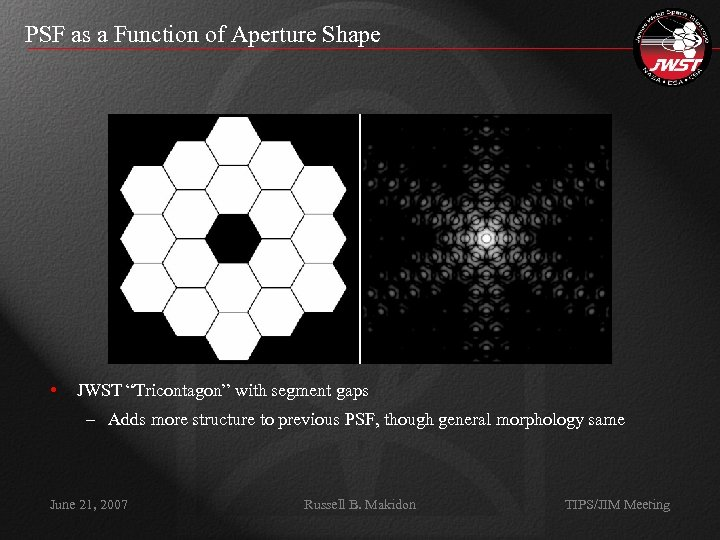 """PSF as a Function of Aperture Shape • JWST """"Tricontagon"""" with segment gaps –"""