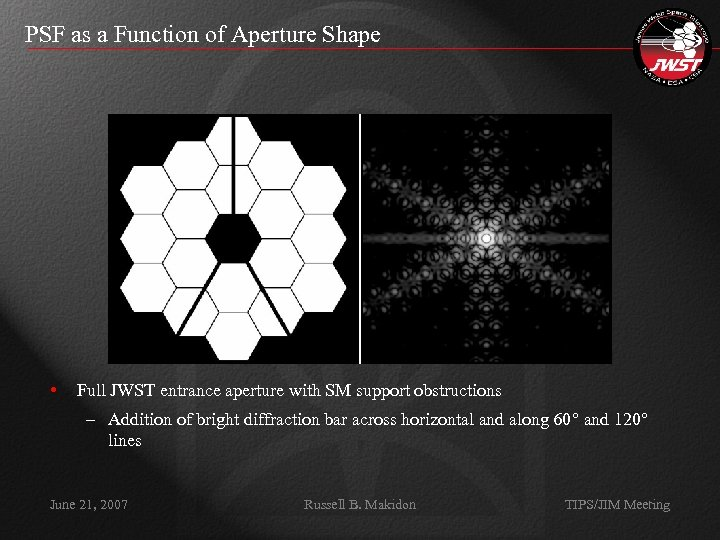 PSF as a Function of Aperture Shape • Full JWST entrance aperture with SM