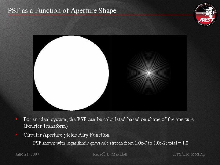 PSF as a Function of Aperture Shape • For an ideal system, the PSF