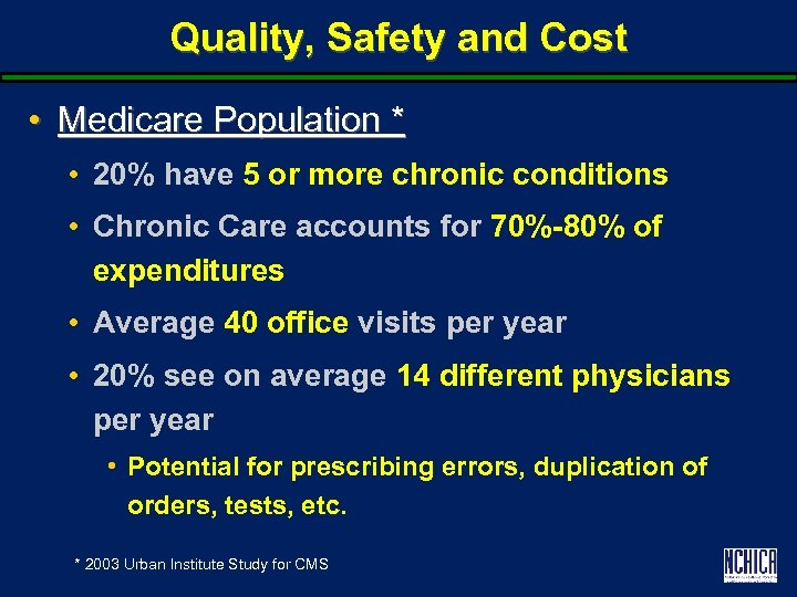 Quality, Safety and Cost • Medicare Population * • 20% have 5 or more