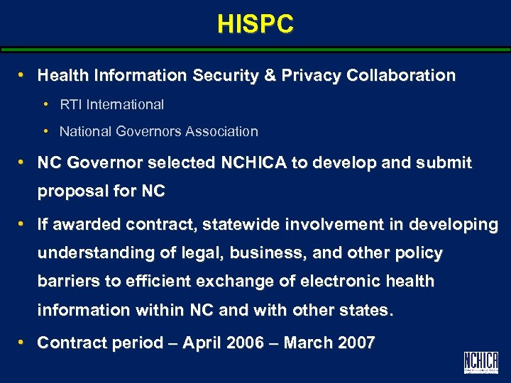 HISPC • Health Information Security & Privacy Collaboration • RTI International • National Governors
