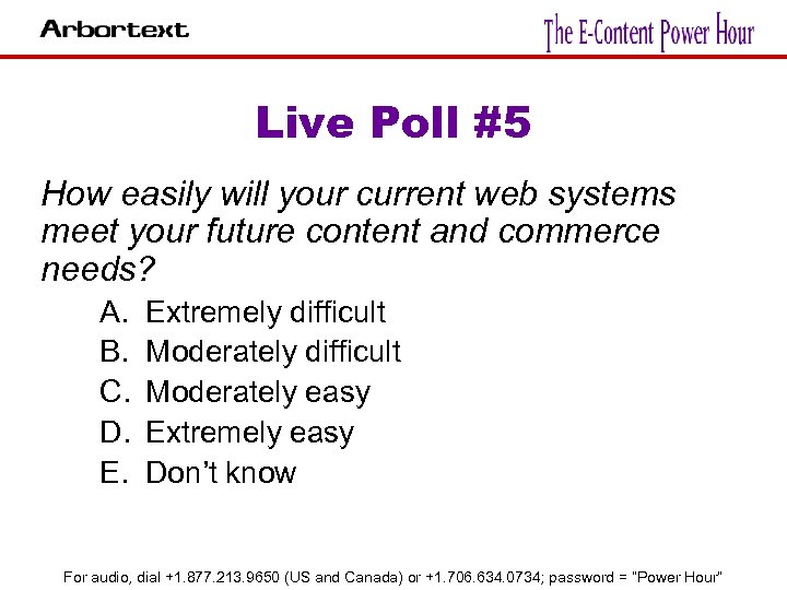 Live Poll #5 How easily will your current web systems meet your future content