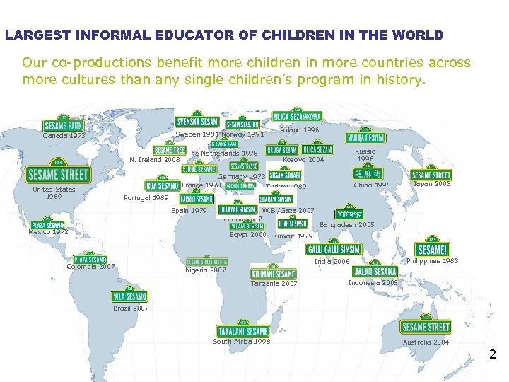 LARGEST INFORMAL EDUCATOR OF CHILDREN IN THE WORLD Our co-productions benefit more children in