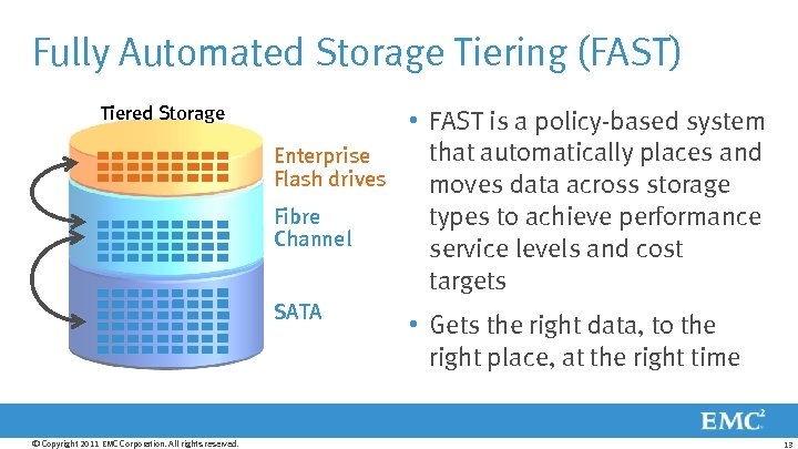 Fully Automated Storage Tiering (FAST) Tiered Storage • FAST is a policy-based system that
