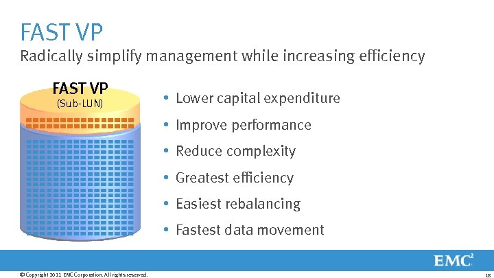 FAST VP Radically simplify management while increasing efficiency FAST VP (Sub-LUN) Flash– 10% •