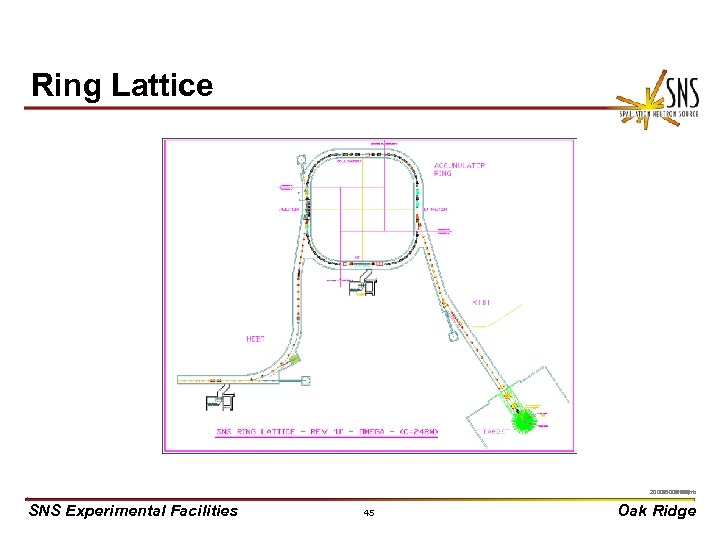 Ring Lattice X 0000910/arb 2000 P-03550/jhb SNS Experimental Facilities 45 Oak Ridge
