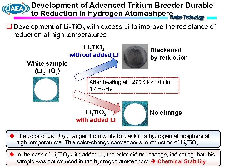 Development of Advanced Tritium Breeder Durable to Reduction in Hydrogen Atomoshpere q Development of