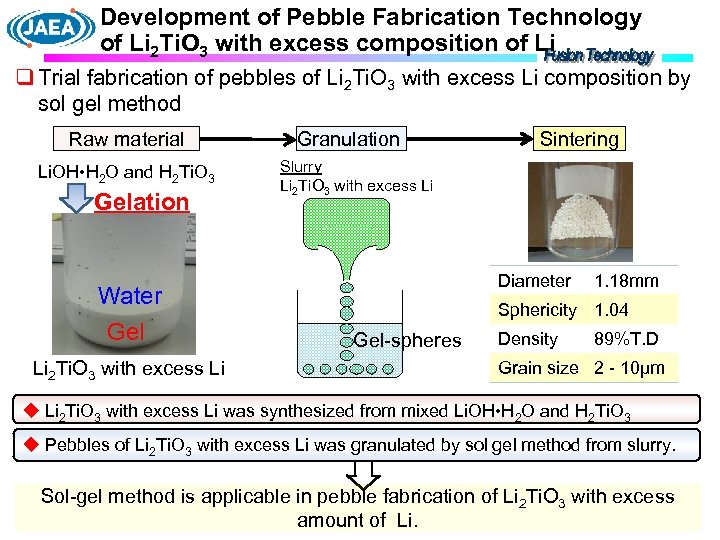 Development of Pebble Fabrication Technology of Li 2 Ti. O 3 with excess composition