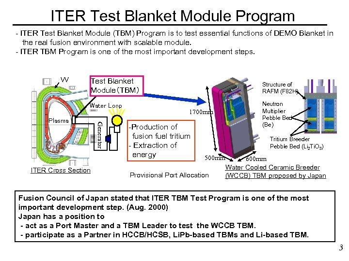 ITER Test Blanket Module Program - ITER Test Blanket Module (TBM) Program is to