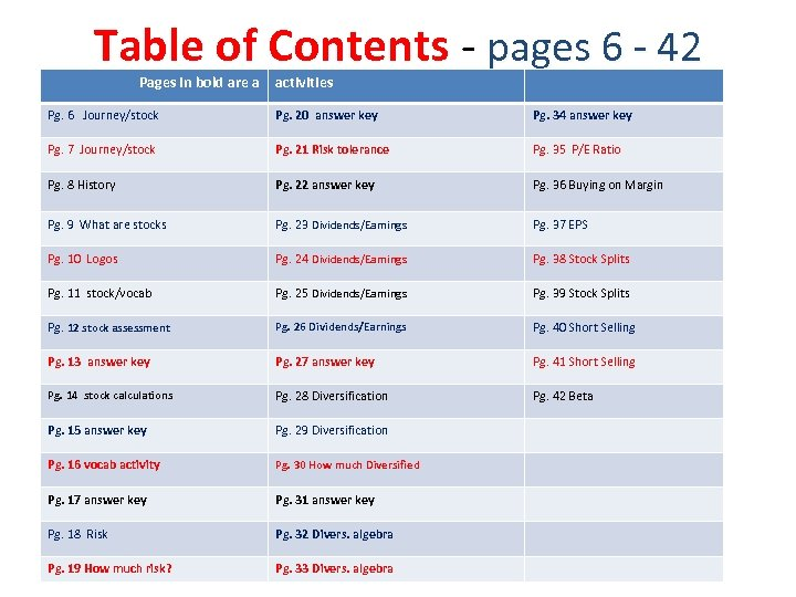 Table of Contents - pages 6 - 42 Pages in bold are a activities