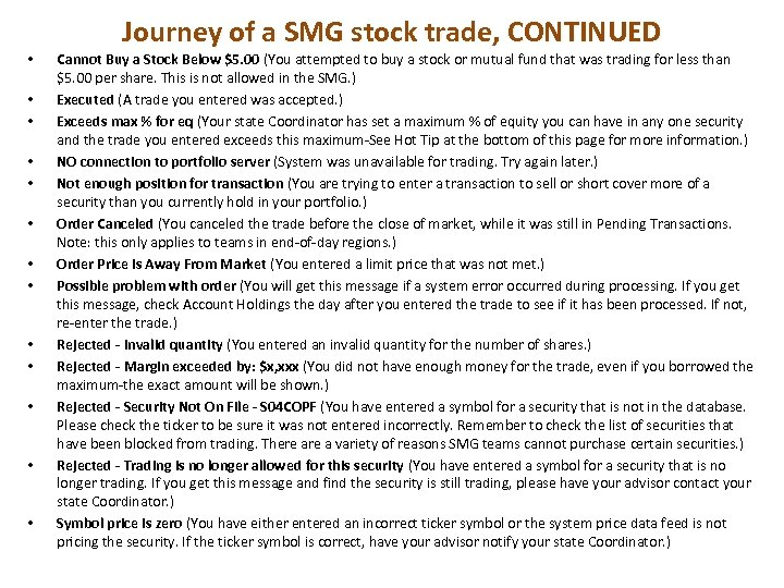 • • • • Journey of a SMG stock trade, CONTINUED Cannot Buy