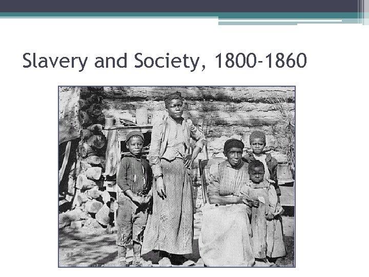 Slavery and Society, 1800 -1860