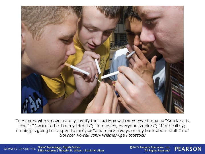 "Teenagers who smoke usually justify their actions with such cognitions as ""Smoking is cool"";"