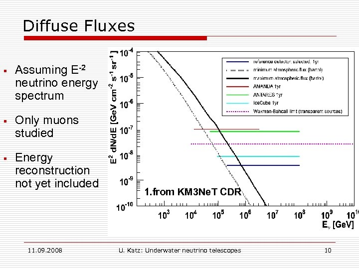 Diffuse Fluxes § Assuming E-2 neutrino energy spectrum § Only muons studied § Energy