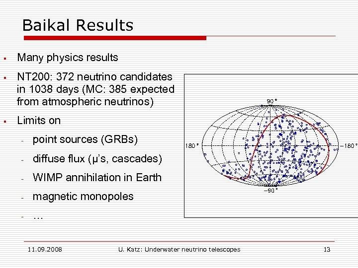 Baikal Results § Many physics results § NT 200: 372 neutrino candidates in 1038