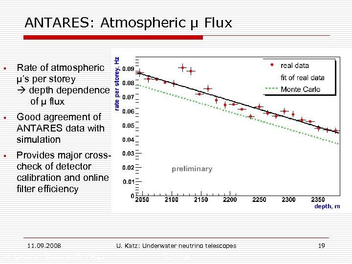 ANTARES: Atmospheric µ Flux § Rate of atmospheric µ's per storey depth dependence of