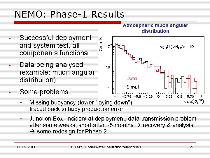 NEMO: Phase-1 Results § Successful deployment and system test, all components functional § Data