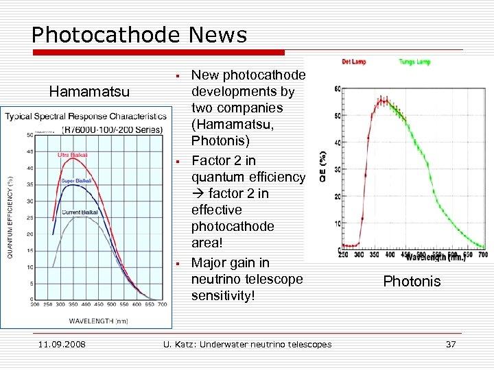 Photocathode News § Hamamatsu § § 11. 09. 2008 New photocathode developments by two