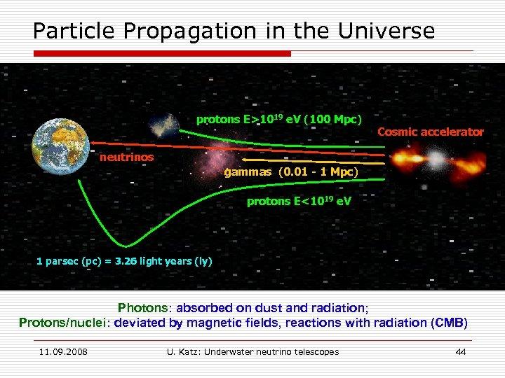 Particle Propagation in the Universe protons E>1019 e. V (100 Mpc) Cosmic accelerator neutrinos