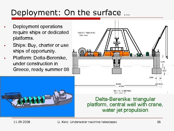 Deployment: On the surface … § § § Deployment operations require ships or dedicated