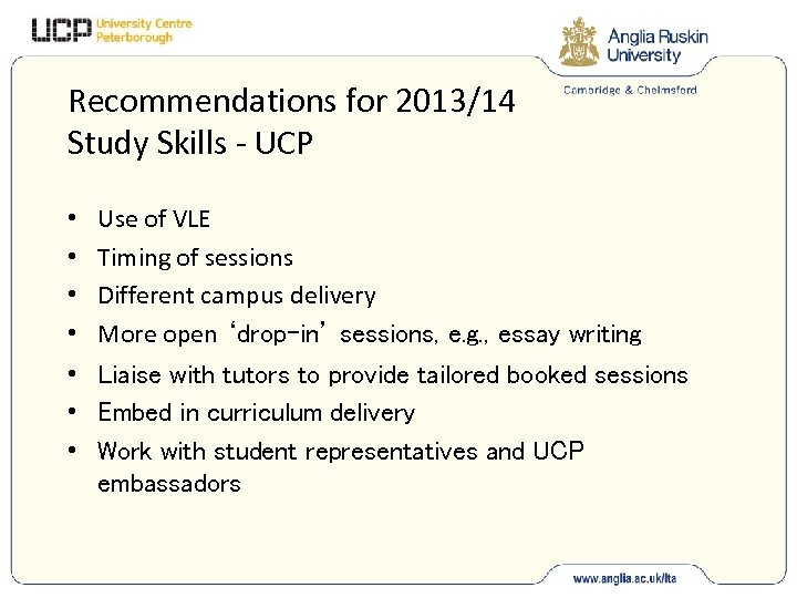 Recommendations for 2013/14 Study Skills - UCP • • Use of VLE Timing of