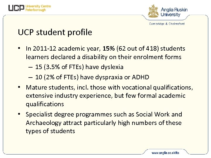 UCP student profile • In 2011 -12 academic year, 15% (62 out of 418)